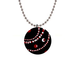 Red pearls Button Necklaces