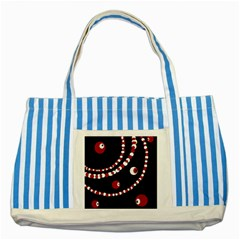 Red pearls Striped Blue Tote Bag