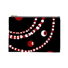 Red pearls Cosmetic Bag (Large)