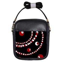 Red pearls Girls Sling Bags