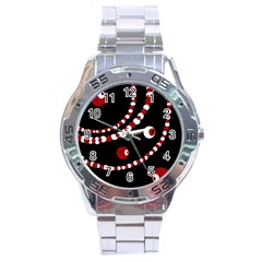 Red pearls Stainless Steel Analogue Watch