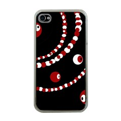 Red pearls Apple iPhone 4 Case (Clear)