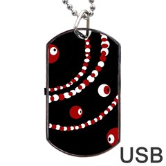 Red pearls Dog Tag USB Flash (One Side)