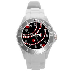 Red pearls Round Plastic Sport Watch (L)