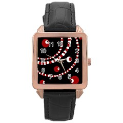 Red pearls Rose Gold Leather Watch