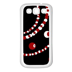 Red pearls Samsung Galaxy S3 Back Case (White)