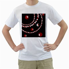 Red pearls Men s T-Shirt (White)