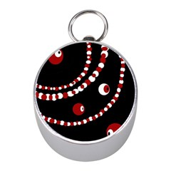 Red pearls Mini Silver Compasses