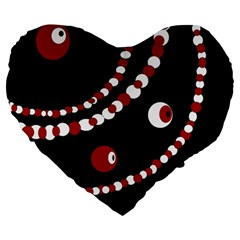Red pearls Large 19  Premium Flano Heart Shape Cushions