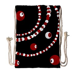 Red pearls Drawstring Bag (Large)