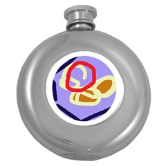 Abstract circle Round Hip Flask (5 oz)