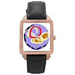 Abstract circle Rose Gold Leather Watch