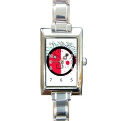 Angry transparent face Rectangle Italian Charm Watch