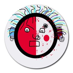 Angry transparent face Round Mousepads