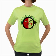 Angry transparent face Women s Green T-Shirt