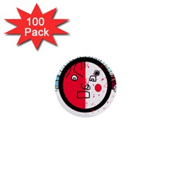 Angry transparent face 1  Mini Buttons (100 pack)