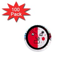 Angry transparent face 1  Mini Magnets (100 pack)