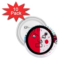 Angry transparent face 1.75  Buttons (10 pack)