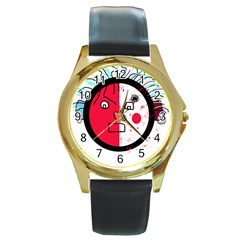 Angry transparent face Round Gold Metal Watch
