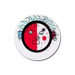Angry transparent face Rubber Coaster (Round)