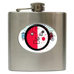 Angry transparent face Hip Flask (6 oz)