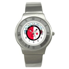 Angry transparent face Stainless Steel Watch