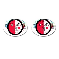 Angry transparent face Cufflinks (Oval)