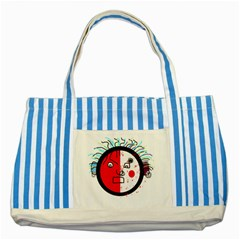 Angry transparent face Striped Blue Tote Bag