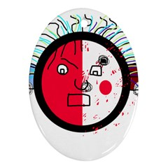 Angry transparent face Oval Ornament (Two Sides)