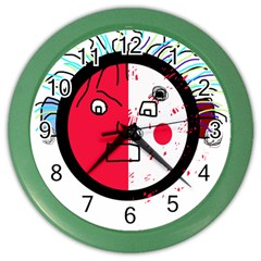 Angry transparent face Color Wall Clocks