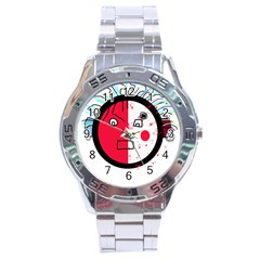 Angry transparent face Stainless Steel Analogue Watch