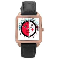Angry transparent face Rose Gold Leather Watch