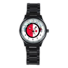 Angry transparent face Stainless Steel Round Watch