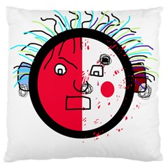 Angry transparent face Large Flano Cushion Case (One Side)
