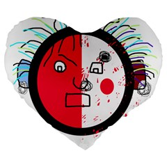 Angry transparent face Large 19  Premium Flano Heart Shape Cushions