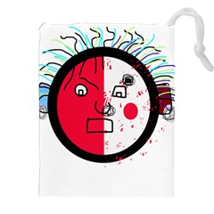 Angry transparent face Drawstring Pouches (XXL)
