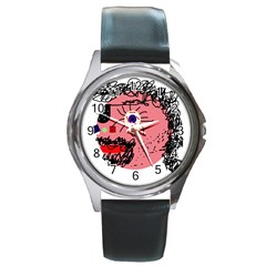 Abstract face Round Metal Watch