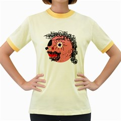 Abstract face Women s Fitted Ringer T-Shirts