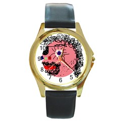 Abstract face Round Gold Metal Watch