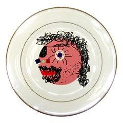 Abstract face Porcelain Plates