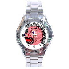 Abstract face Stainless Steel Analogue Watch