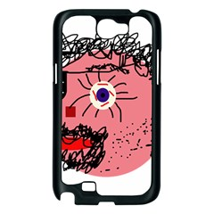 Abstract face Samsung Galaxy Note 2 Case (Black)