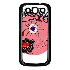 Abstract face Samsung Galaxy S3 Back Case (Black)