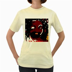 Abstract face  Women s Yellow T-Shirt