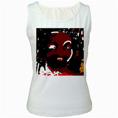 Abstract face  Women s White Tank Top