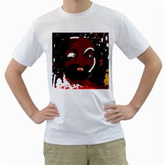 Abstract face  Men s T-Shirt (White) (Two Sided)