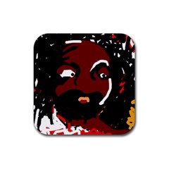 Abstract face  Rubber Square Coaster (4 pack)