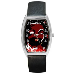 Abstract face  Barrel Style Metal Watch