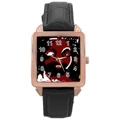Abstract face  Rose Gold Leather Watch