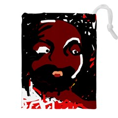 Abstract face  Drawstring Pouches (XXL)